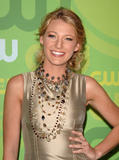 Blake Lively in tight golden dress at CW Network's Upfront